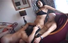 Cuckold husband gets dominated and fucked