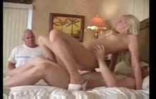 Petite blonde makes husband cuckold